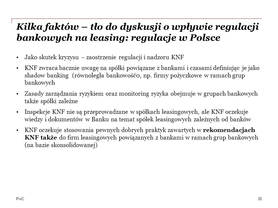 Kilka faktów – tło do dyskusji o wpływie regulacji bankowych na leasing: regulacje w Polsce