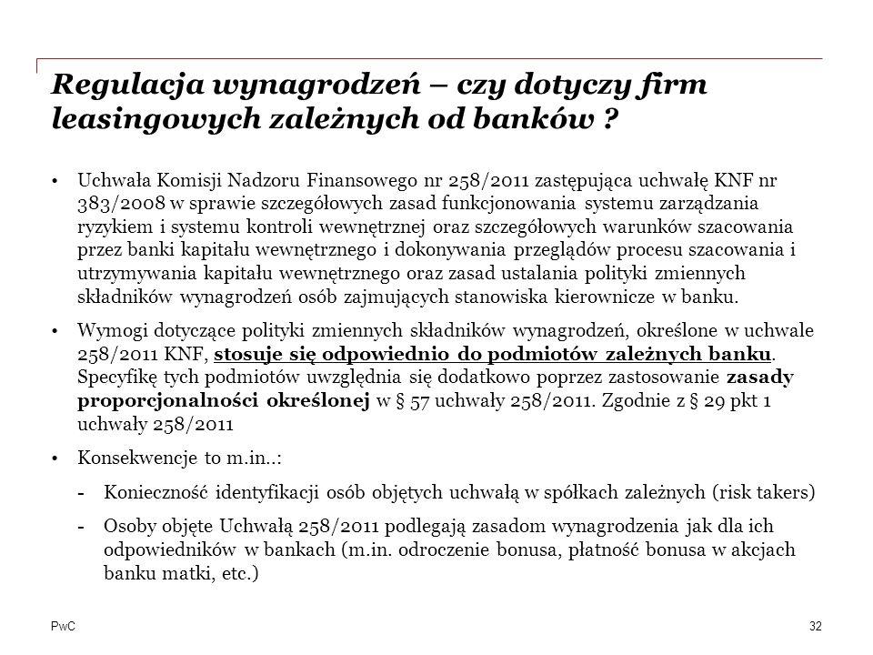 Regulacja wynagrodzeń – czy dotyczy firm leasingowych zależnych od banków