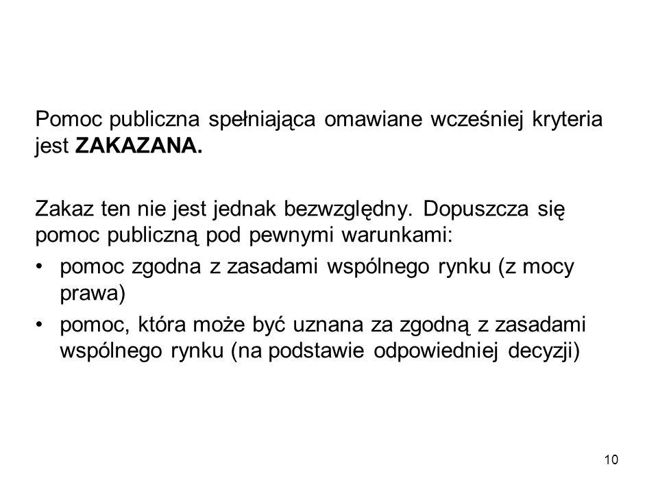 Pomoc publiczna spełniająca omawiane wcześniej kryteria jest ZAKAZANA.
