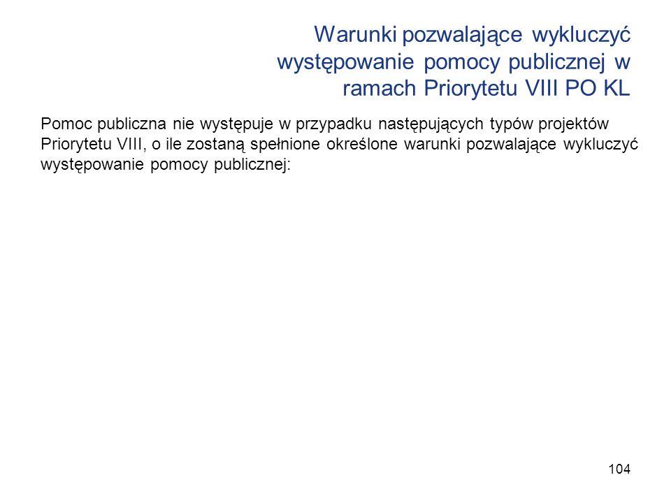 Warunki pozwalające wykluczyć występowanie pomocy publicznej w ramach Priorytetu VIII PO KL