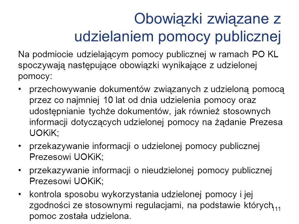 Obowiązki związane z udzielaniem pomocy publicznej