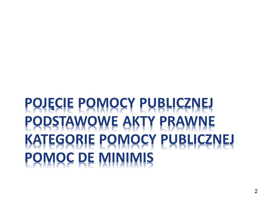 Pojęcie pomocy publicznej podstawowe akty prawne kategorie pomocy publicznej Pomoc de minimis
