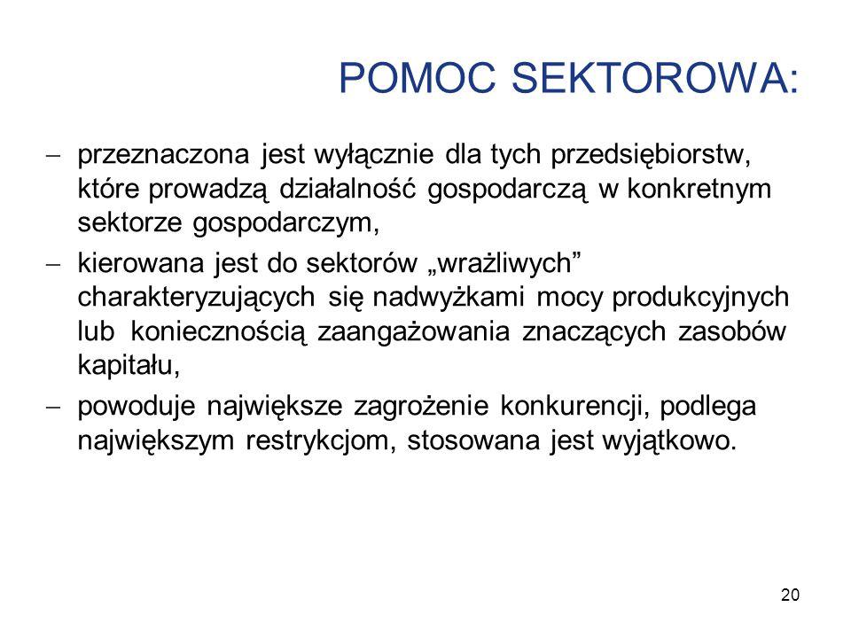 POMOC SEKTOROWA: przeznaczona jest wyłącznie dla tych przedsiębiorstw, które prowadzą działalność gospodarczą w konkretnym sektorze gospodarczym,