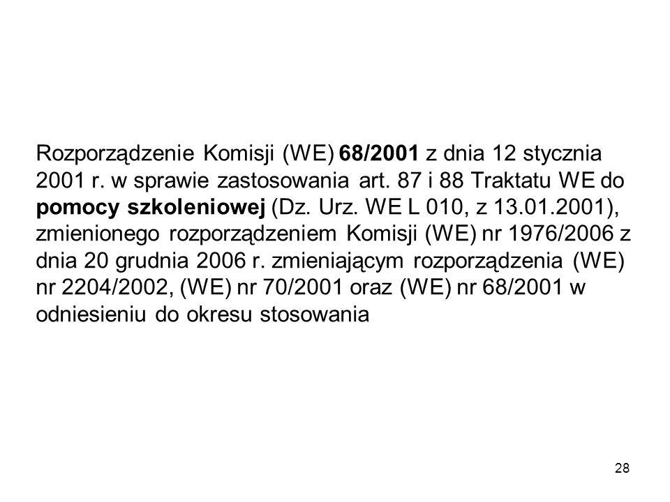 Rozporządzenie Komisji (WE) 68/2001 z dnia 12 stycznia 2001 r