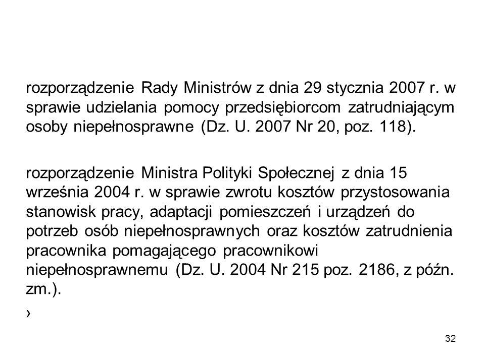 rozporządzenie Rady Ministrów z dnia 29 stycznia 2007 r