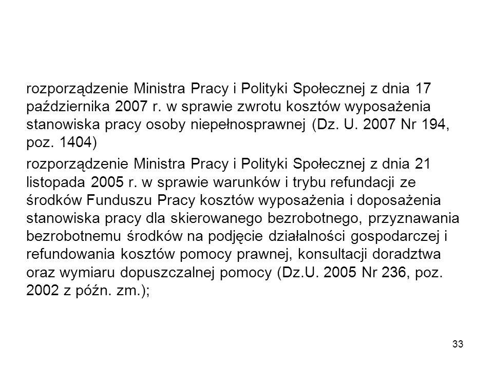 rozporządzenie Ministra Pracy i Polityki Społecznej z dnia 17 października 2007 r. w sprawie zwrotu kosztów wyposażenia stanowiska pracy osoby niepełnosprawnej (Dz. U. 2007 Nr 194, poz. 1404)