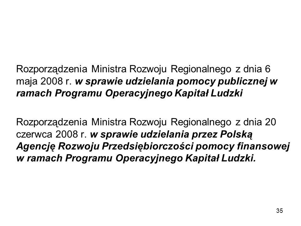 Rozporządzenia Ministra Rozwoju Regionalnego z dnia 6 maja 2008 r