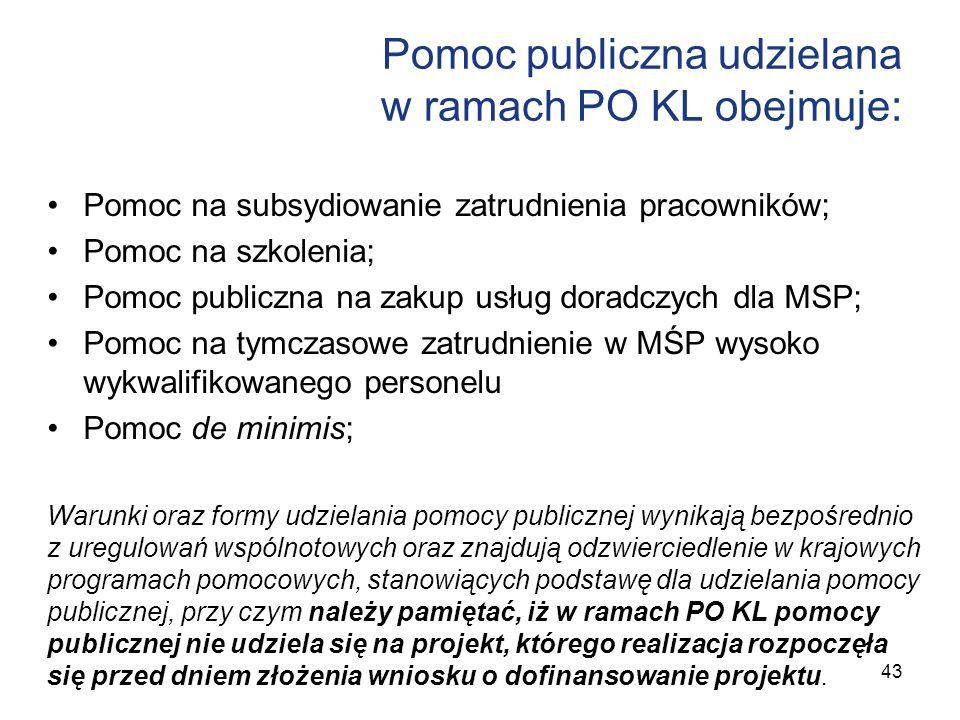 Pomoc publiczna udzielana w ramach PO KL obejmuje: