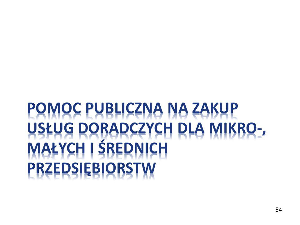 Pomoc publiczna na zakup usług doradczych dla mikro-, małych i średnich przedsiębiorstw