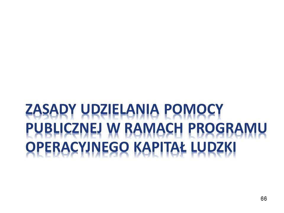 Zasady udzielania pomocy publicznej w ramach Programu Operacyjnego Kapitał Ludzki