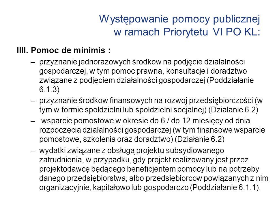 Występowanie pomocy publicznej w ramach Priorytetu VI PO KL: