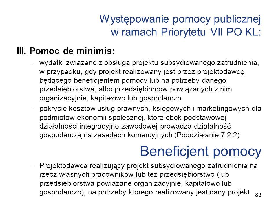 Występowanie pomocy publicznej w ramach Priorytetu VII PO KL: