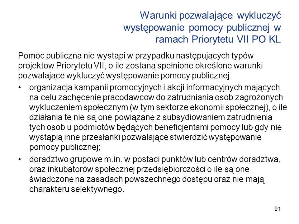 Warunki pozwalające wykluczyć występowanie pomocy publicznej w ramach Priorytetu VII PO KL