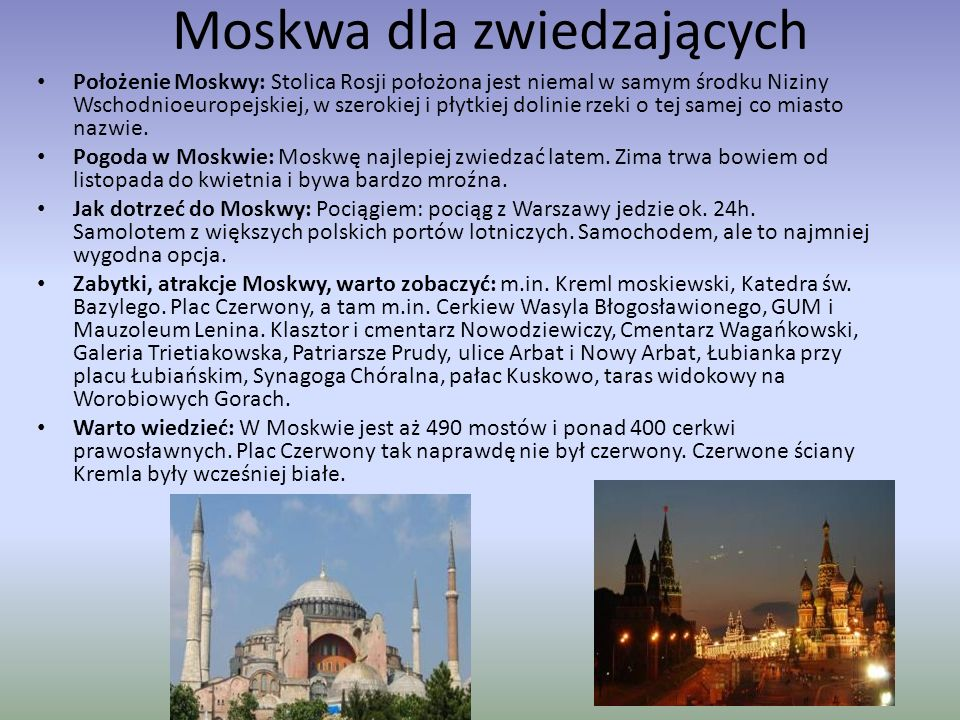 Moskwa dla zwiedzających