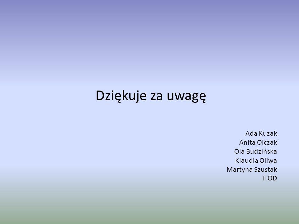 Dziękuje za uwagę Ada Kuzak Anita Olczak Ola Budzińska Klaudia Oliwa