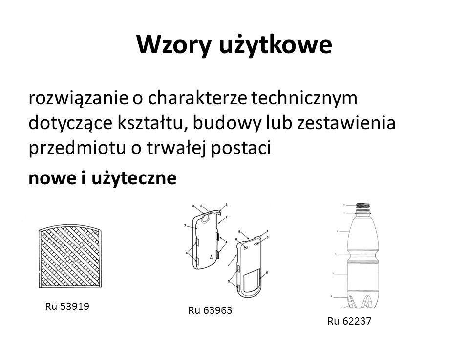 Wzory użytkowe rozwiązanie o charakterze technicznym dotyczące kształtu, budowy lub zestawienia przedmiotu o trwałej postaci nowe i użyteczne