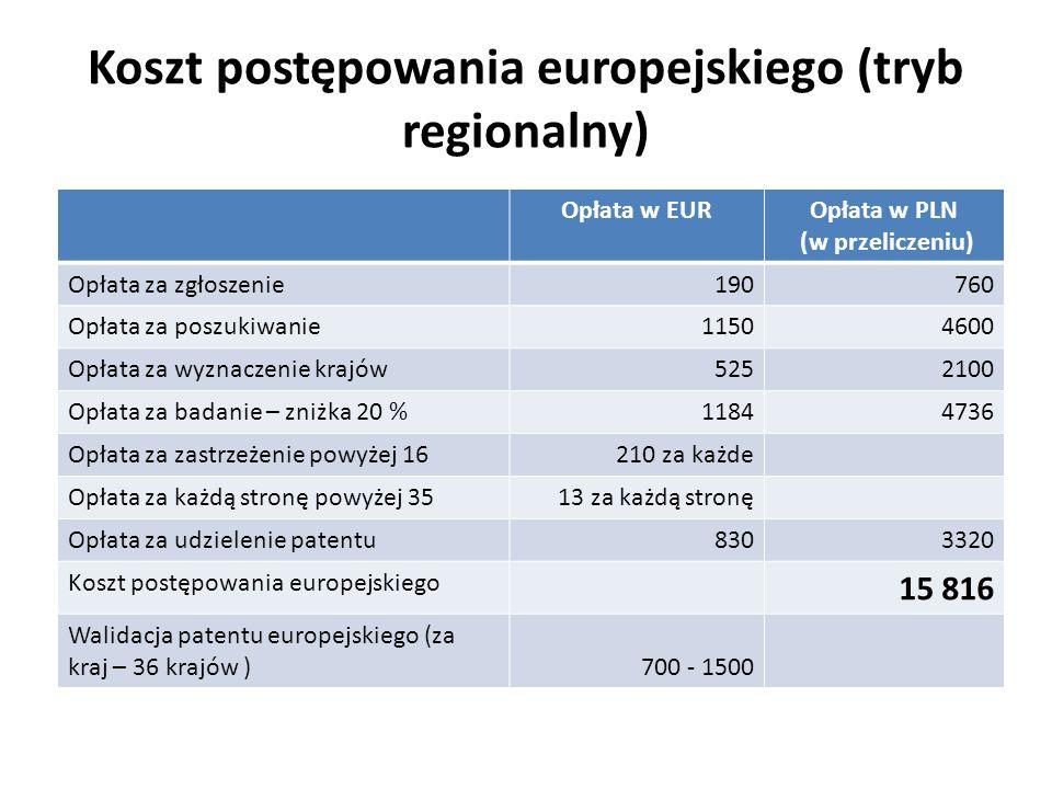 Koszt postępowania europejskiego (tryb regionalny)