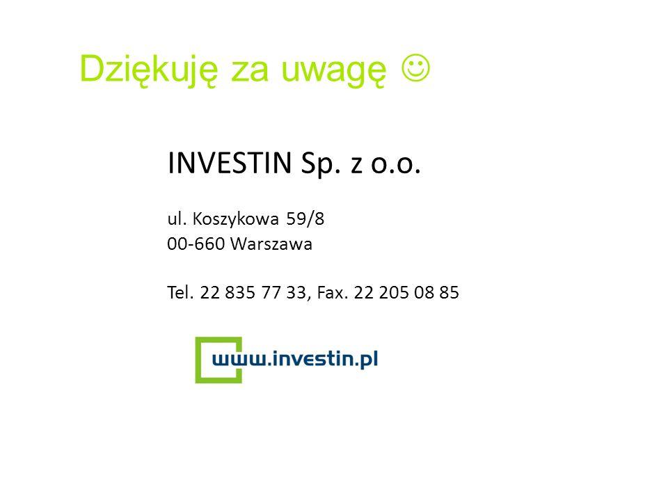 Dziękuję za uwagę  INVESTIN Sp. z o.o. ul. Koszykowa 59/8
