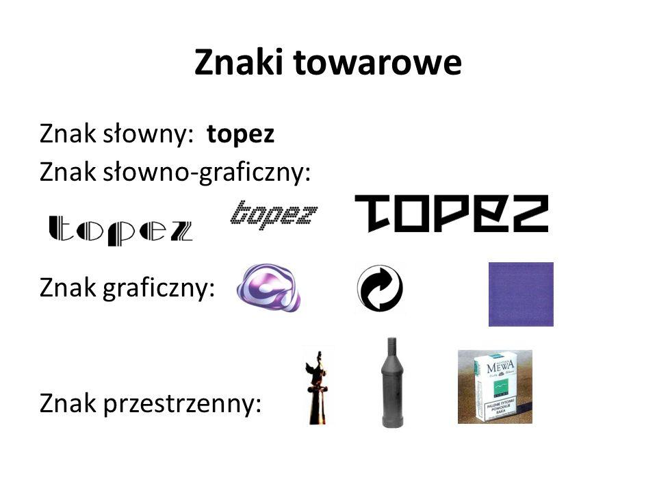 Znaki towarowe Znak słowny: topez Znak słowno-graficzny: Znak graficzny: Znak przestrzenny: