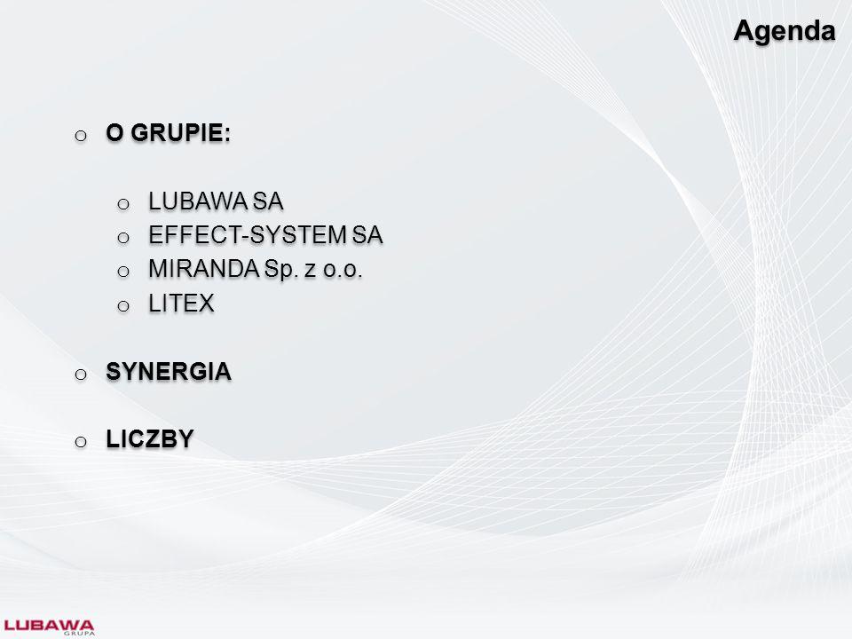 Agenda O GRUPIE: LUBAWA SA EFFECT-SYSTEM SA MIRANDA Sp. z o.o. LITEX