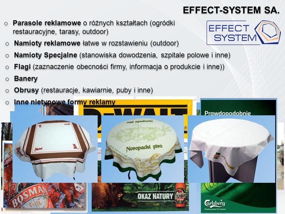 EFFECT-SYSTEM SA. Parasole reklamowe o różnych kształtach (ogródki restauracyjne, tarasy, outdoor)