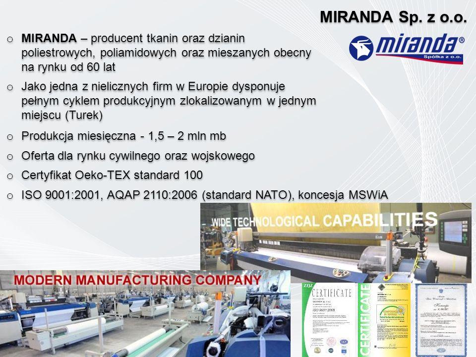 MIRANDA Sp. z o.o. MIRANDA – producent tkanin oraz dzianin poliestrowych, poliamidowych oraz mieszanych obecny na rynku od 60 lat.