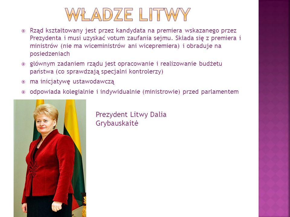 Władze litwy Prezydent Litwy Dalia Grybauskaitė