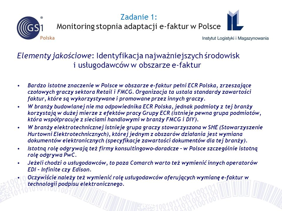 Zadanie 1: Monitoring stopnia adaptacji e-faktur w Polsce