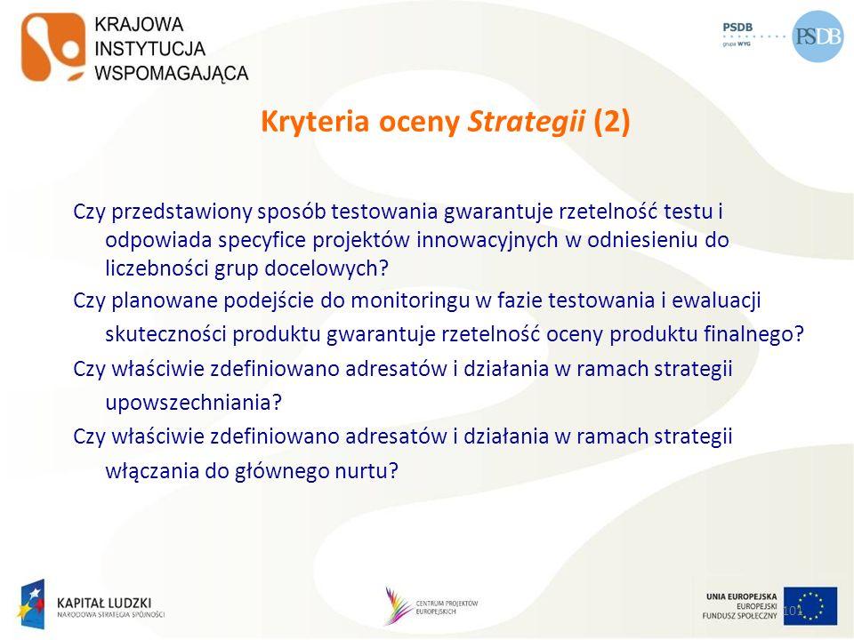 Kryteria oceny Strategii (2)