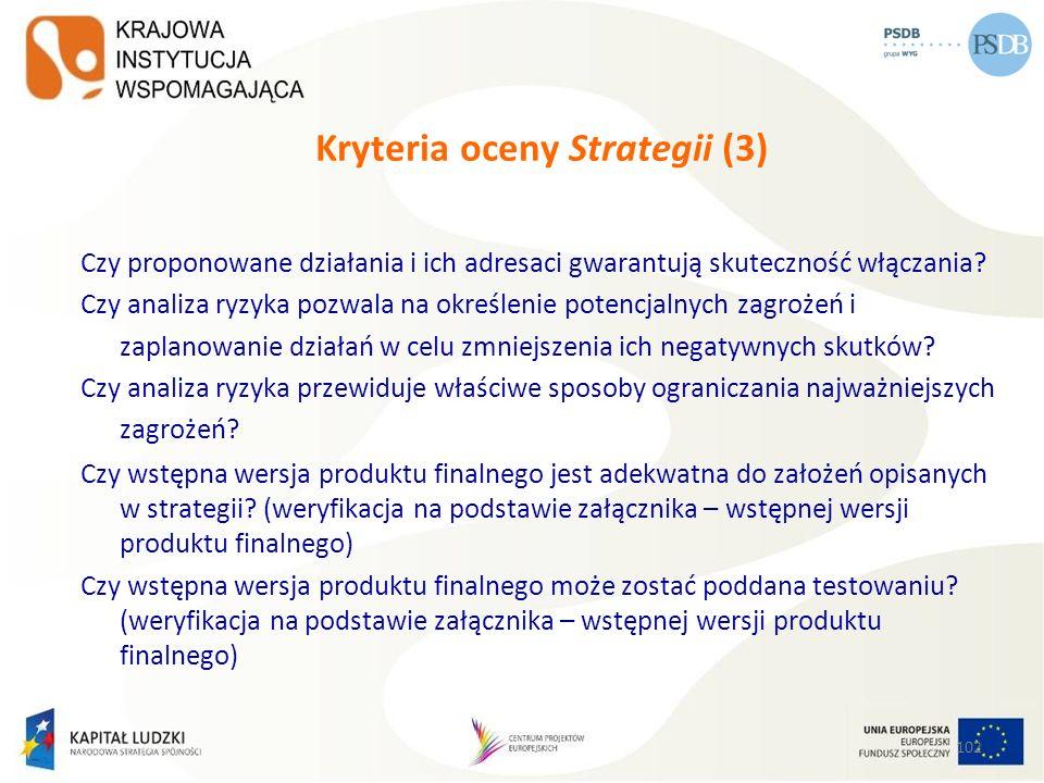 Kryteria oceny Strategii (3)