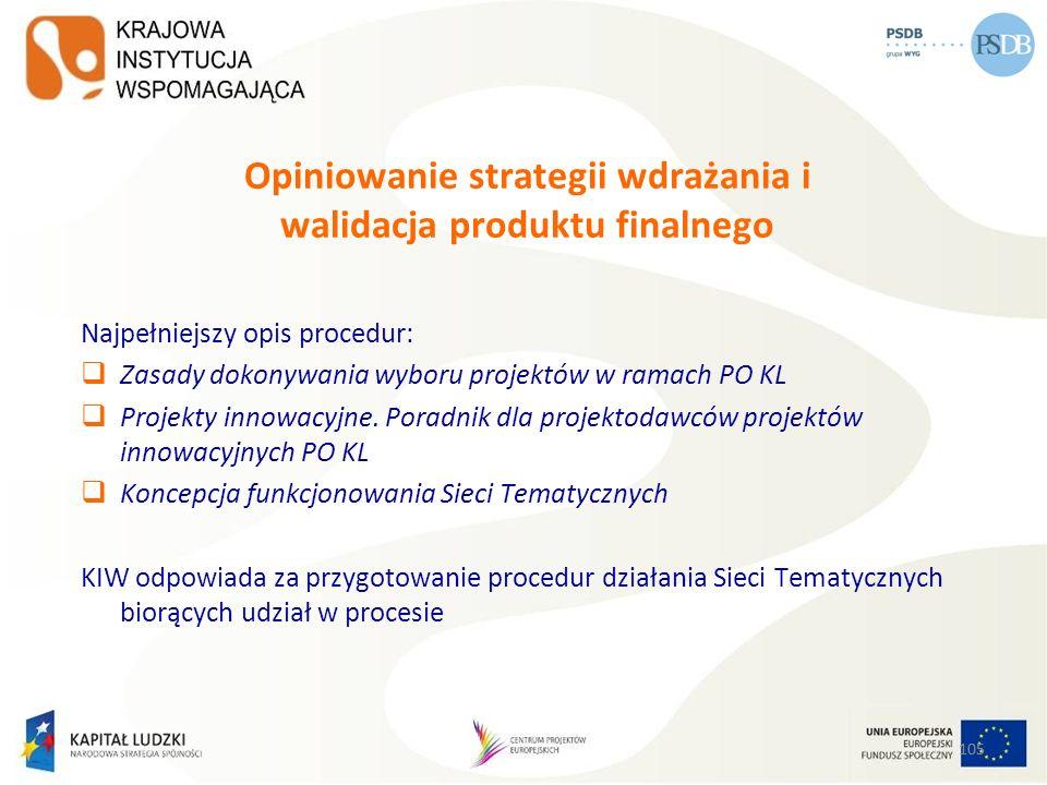 Opiniowanie strategii wdrażania i walidacja produktu finalnego