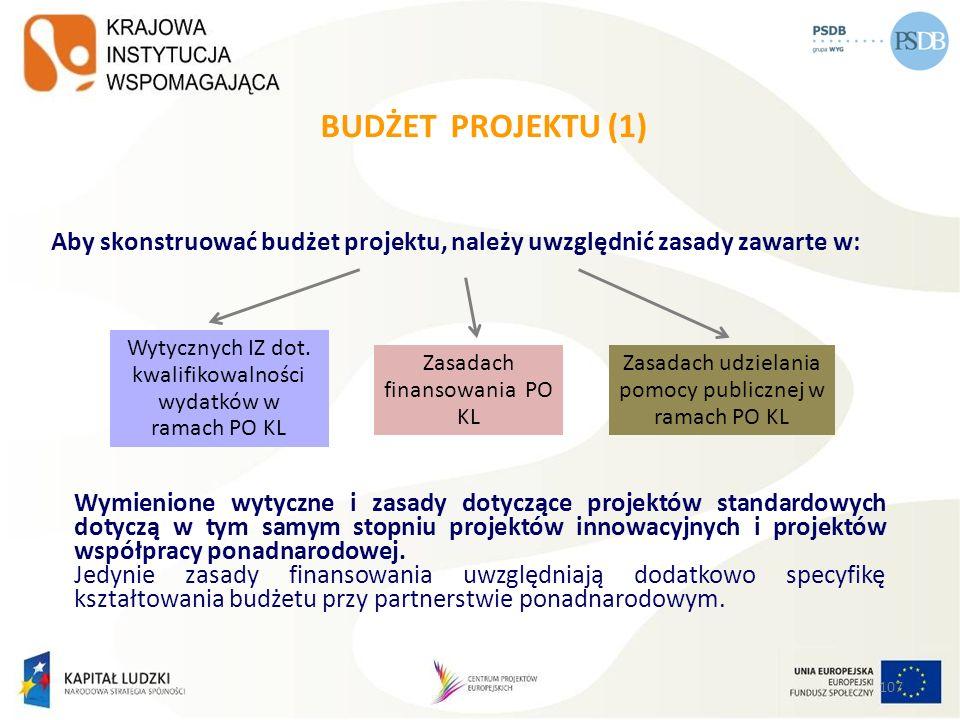 BUDŻET PROJEKTU (1) Aby skonstruować budżet projektu, należy uwzględnić zasady zawarte w: Wytycznych IZ dot. kwalifikowalności.