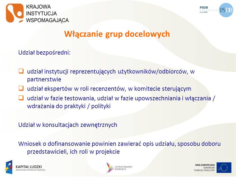 Włączanie grup docelowych