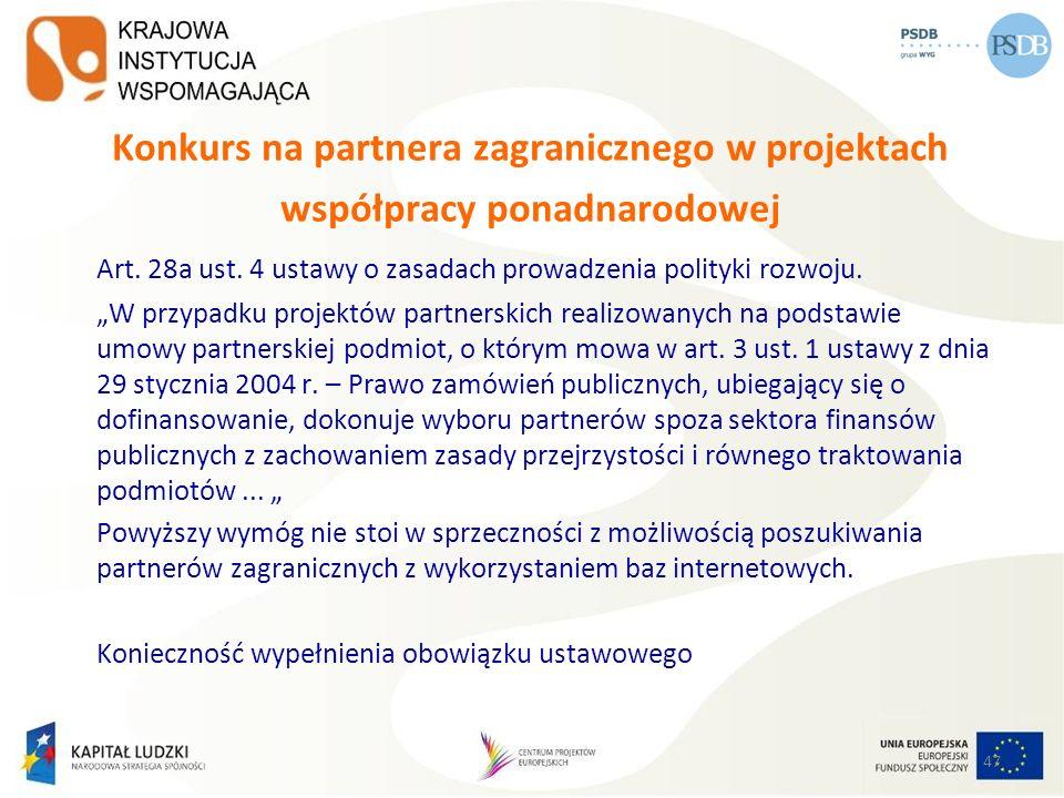 Konkurs na partnera zagranicznego w projektach współpracy ponadnarodowej