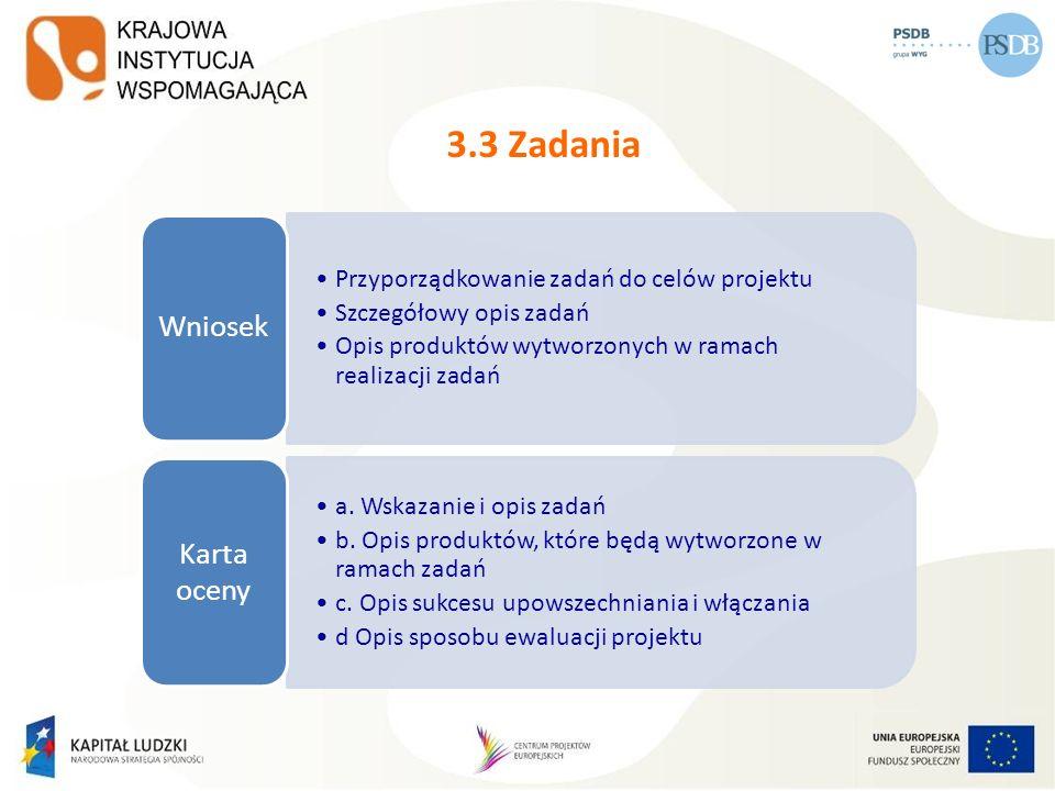 3.3 Zadania Przyporządkowanie zadań do celów projektu