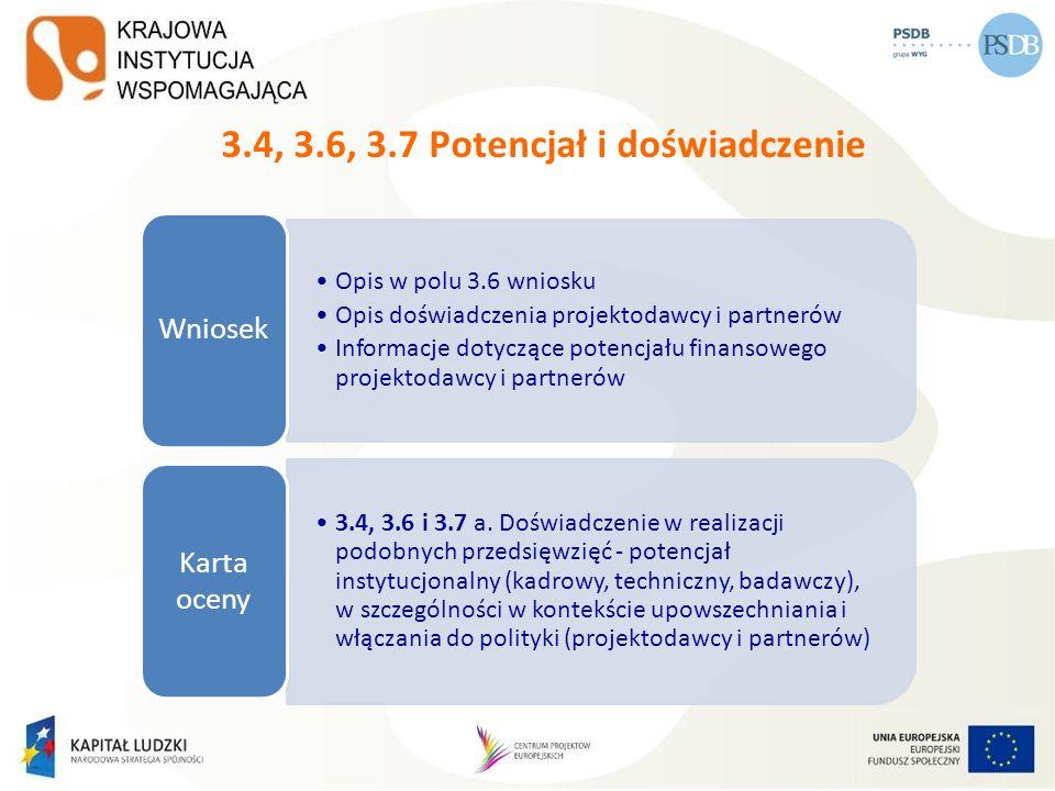3.4, 3.6, 3.7 Potencjał i doświadczenie