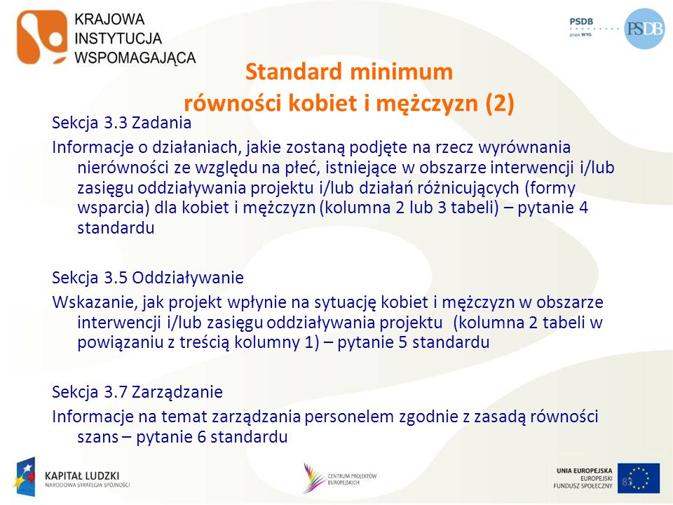 Standard minimum równości kobiet i mężczyzn (2)