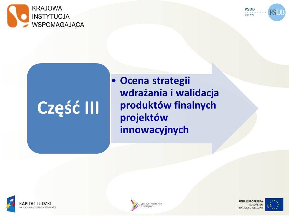 Ocena strategii wdrażania i walidacja produktów finalnych projektów innowacyjnych