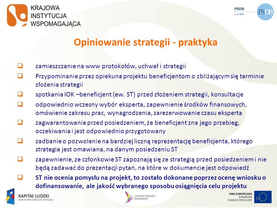 Opiniowanie strategii - praktyka