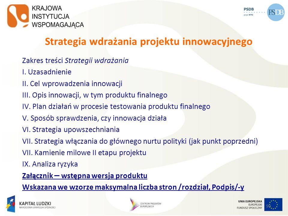 Strategia wdrażania projektu innowacyjnego