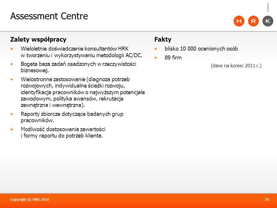 Assessment Centre Zalety współpracy Fakty