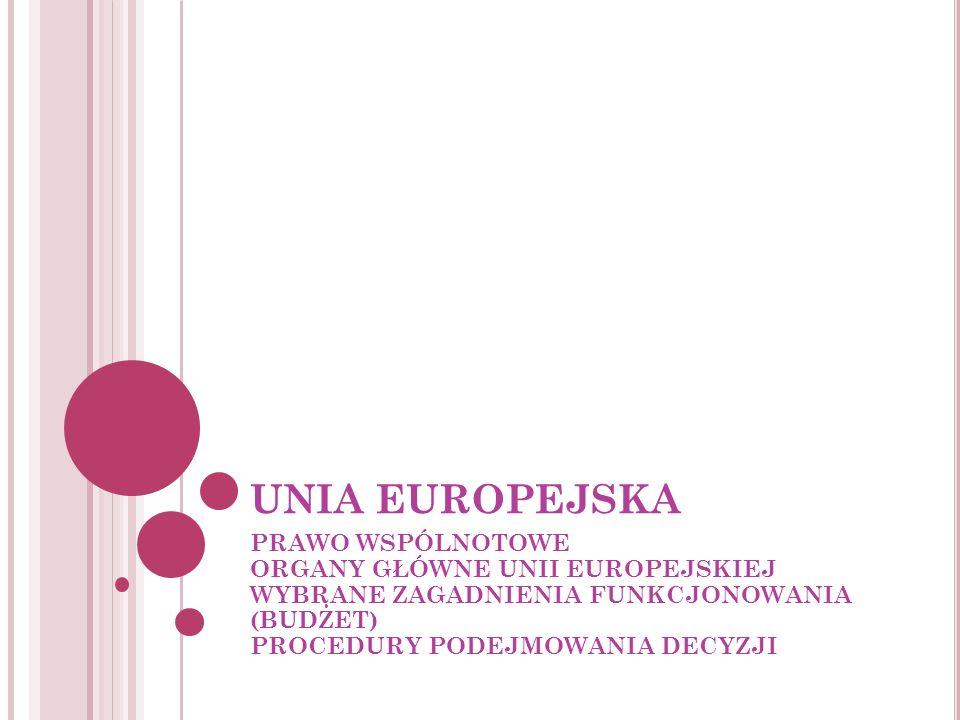 UNIA EUROPEJSKAPRAWO WSPÓLNOTOWE ORGANY GŁÓWNE UNII EUROPEJSKIEJ WYBRANE ZAGADNIENIA FUNKCJONOWANIA (BUDŻET) PROCEDURY PODEJMOWANIA DECYZJI.