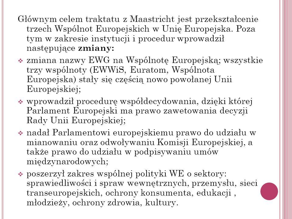 Głównym celem traktatu z Maastricht jest przekształcenie trzech Wspólnot Europejskich w Unię Europejska. Poza tym w zakresie instytucji i procedur wprowadził następujące zmiany: