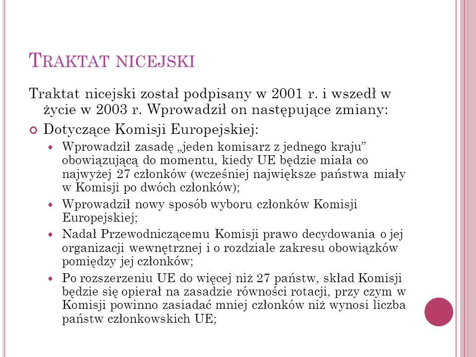Traktat nicejski Traktat nicejski został podpisany w 2001 r. i wszedł w życie w 2003 r. Wprowadził on następujące zmiany:
