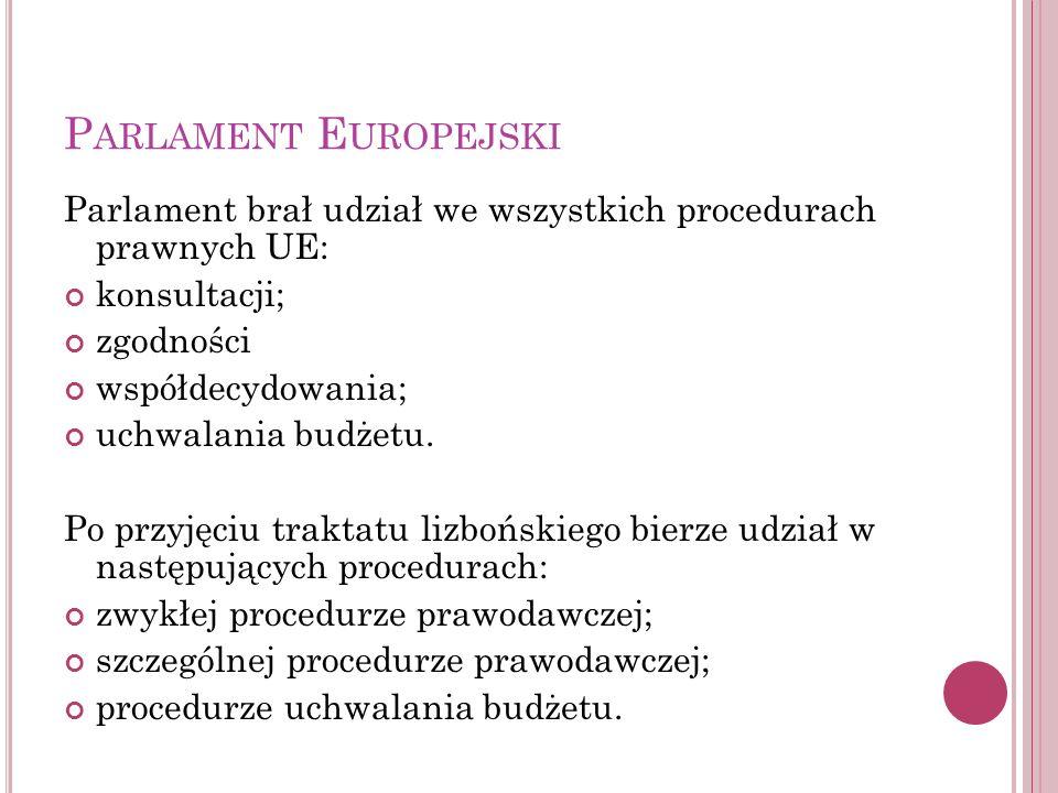 Parlament Europejski Parlament brał udział we wszystkich procedurach prawnych UE: konsultacji; zgodności.