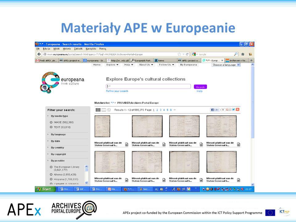 Materiały APE w Europeanie