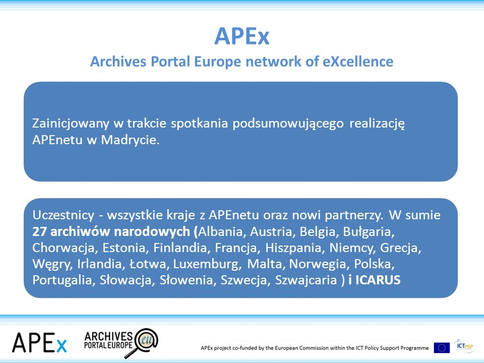APEx Archives Portal Europe network of eXcellence