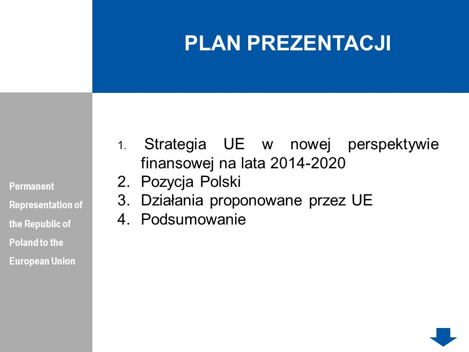 PLAN PREZENTACJI Pozycja Polski Działania proponowane przez UE