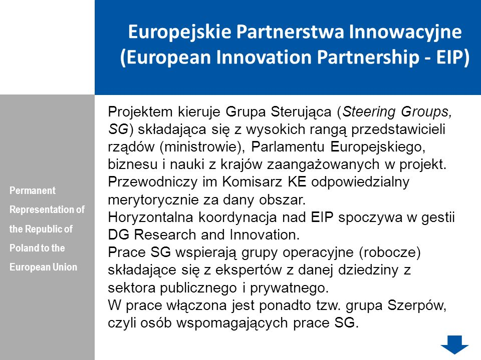 Europejskie Partnerstwa Innowacyjne (European Innovation Partnership - EIP)