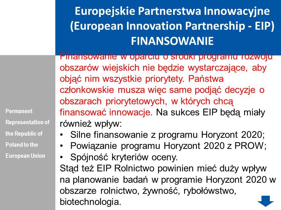 Europejskie Partnerstwa Innowacyjne (European Innovation Partnership - EIP) FINANSOWANIE